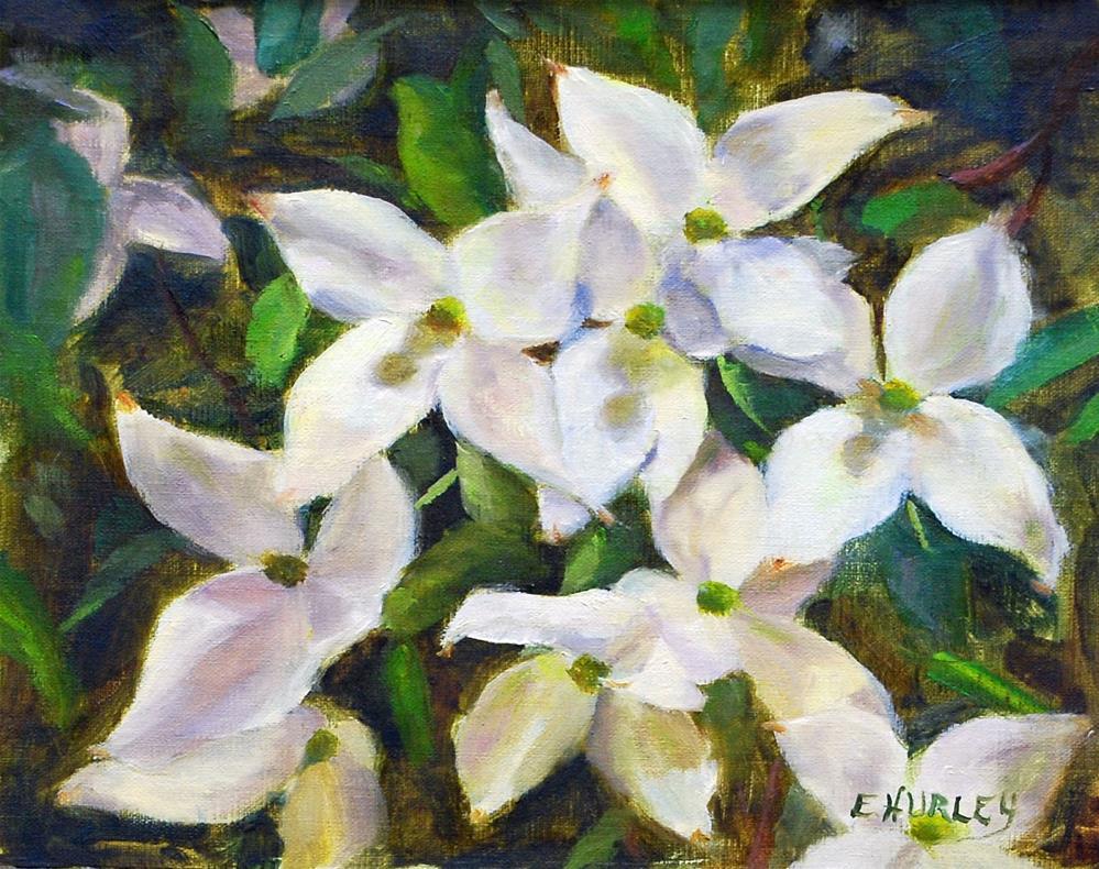 """""""Dogwood Blossoms (plein air)"""" original fine art by Ellen Hurley"""