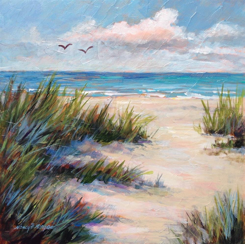 """A Day at the Beach"" original fine art by Nancy F. Morgan"