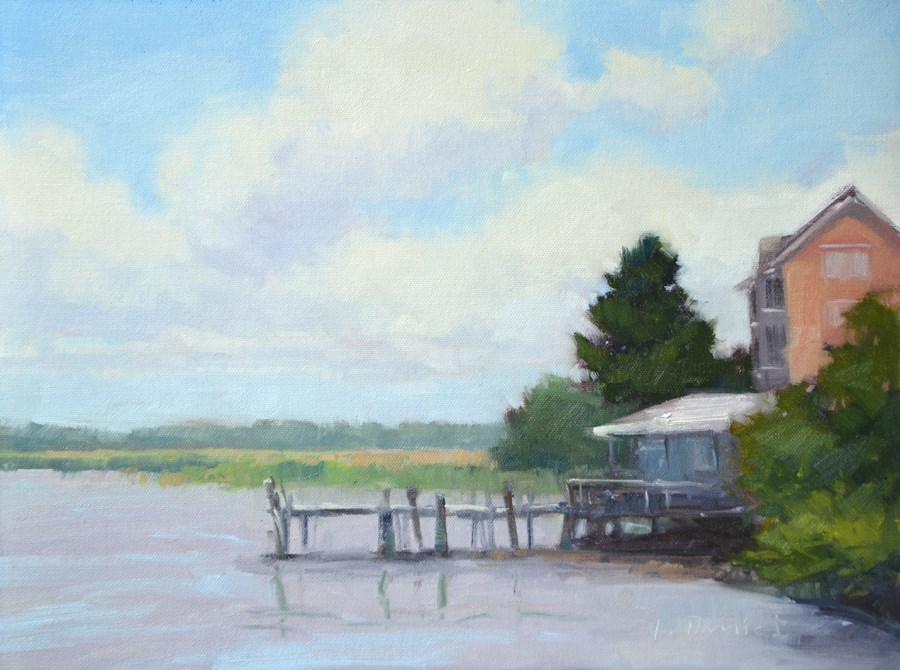 """Old Bait Dock - Georgia Coast"" original fine art by Laurel Daniel"