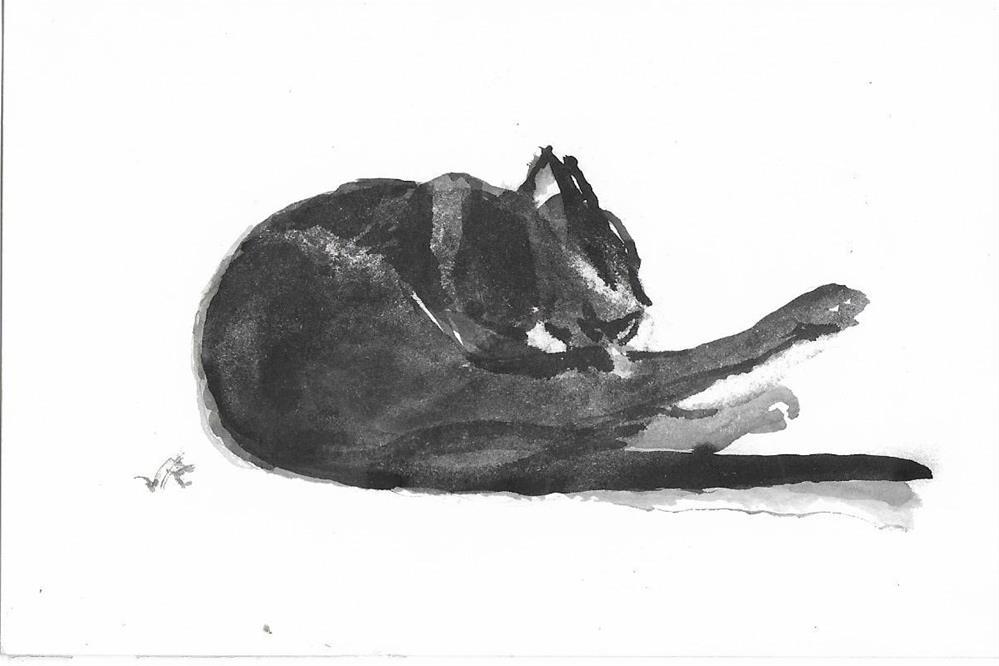 """""""CatTongue Cat 28"""" original fine art by Jean Krueger"""