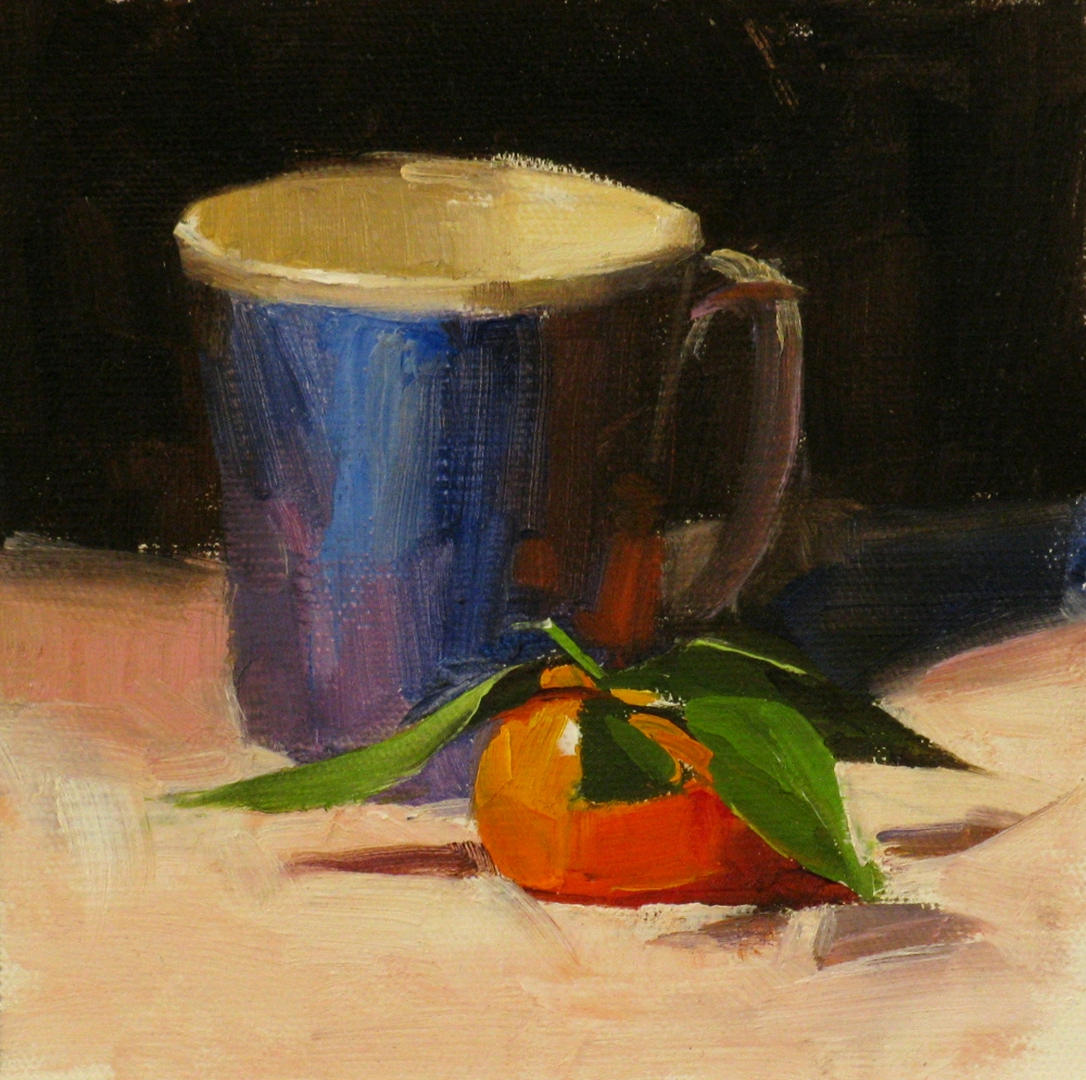 """""""Tangerine with Leaves"""" original fine art by Qiang Huang"""