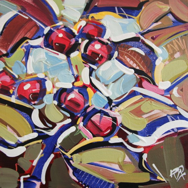"""""""Autumn Berry Abstraction 20"""" original fine art by Roger Akesson"""