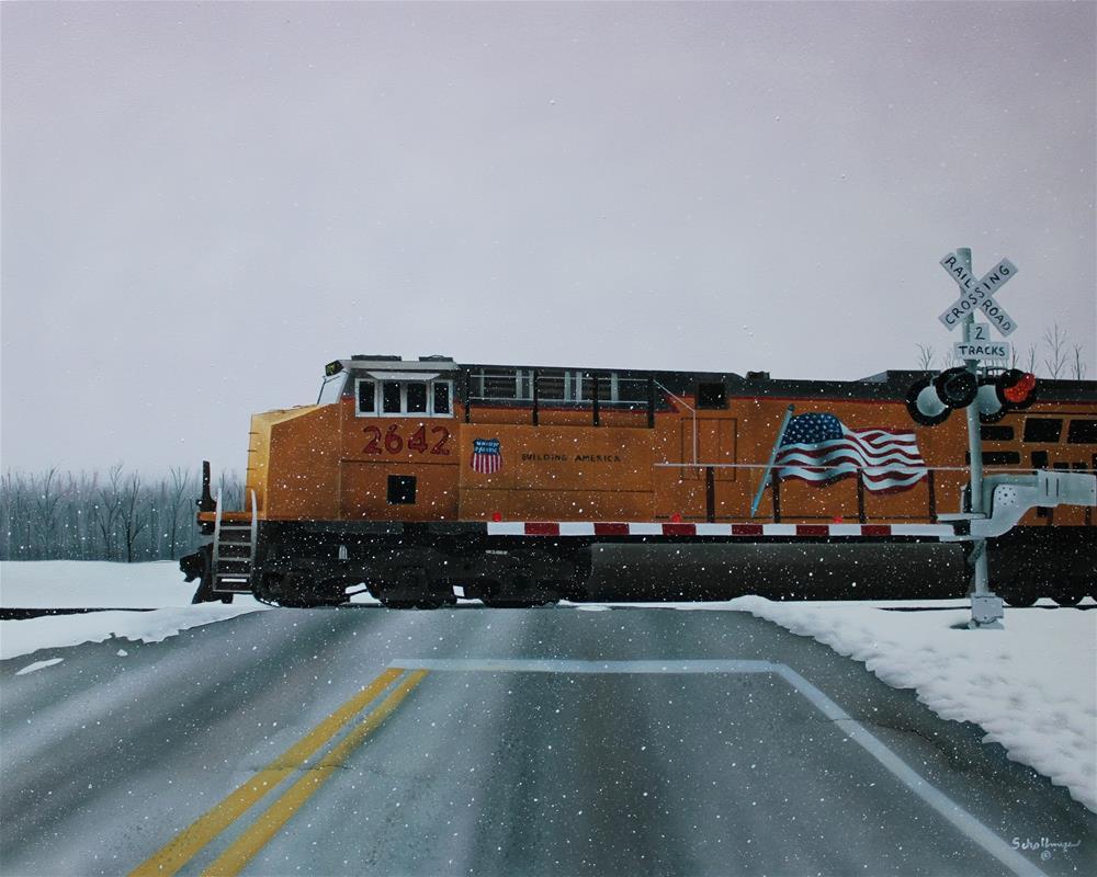 """""""Westbound in the Snow"""" original fine art by Fred Schollmeyer"""