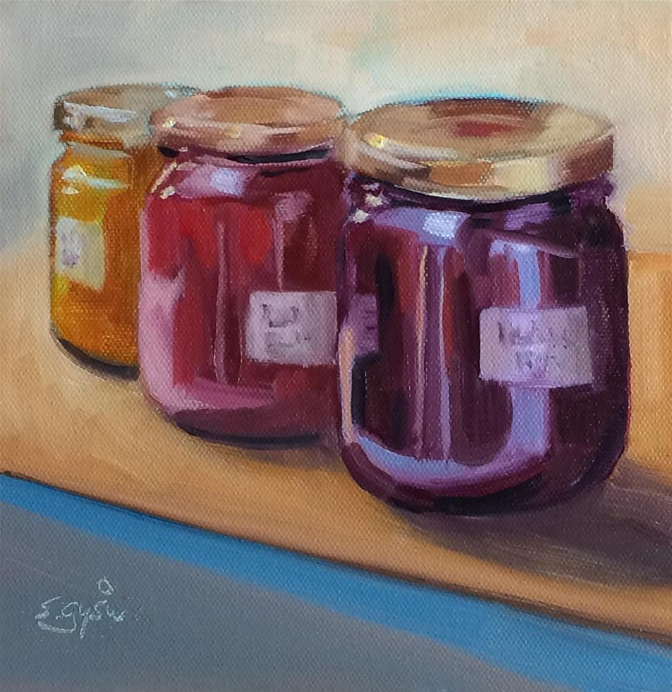 """""""J - is for Jars of Jam"""" original fine art by Suzanne Gysin"""