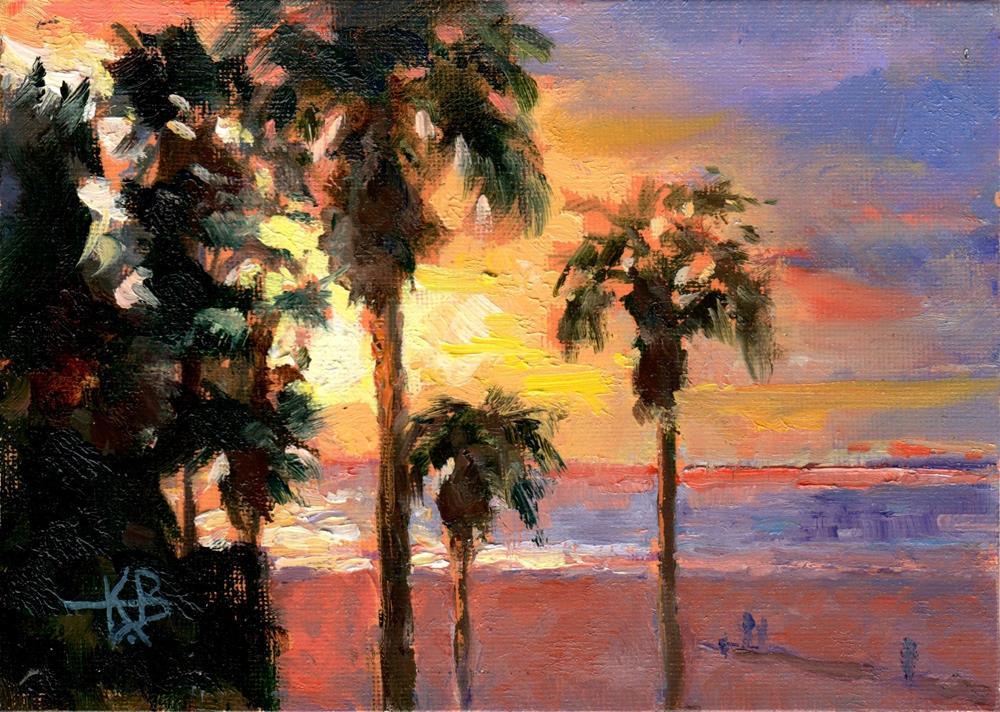 """Santa Monica Sunset"" original fine art by Kathy Bodamer"