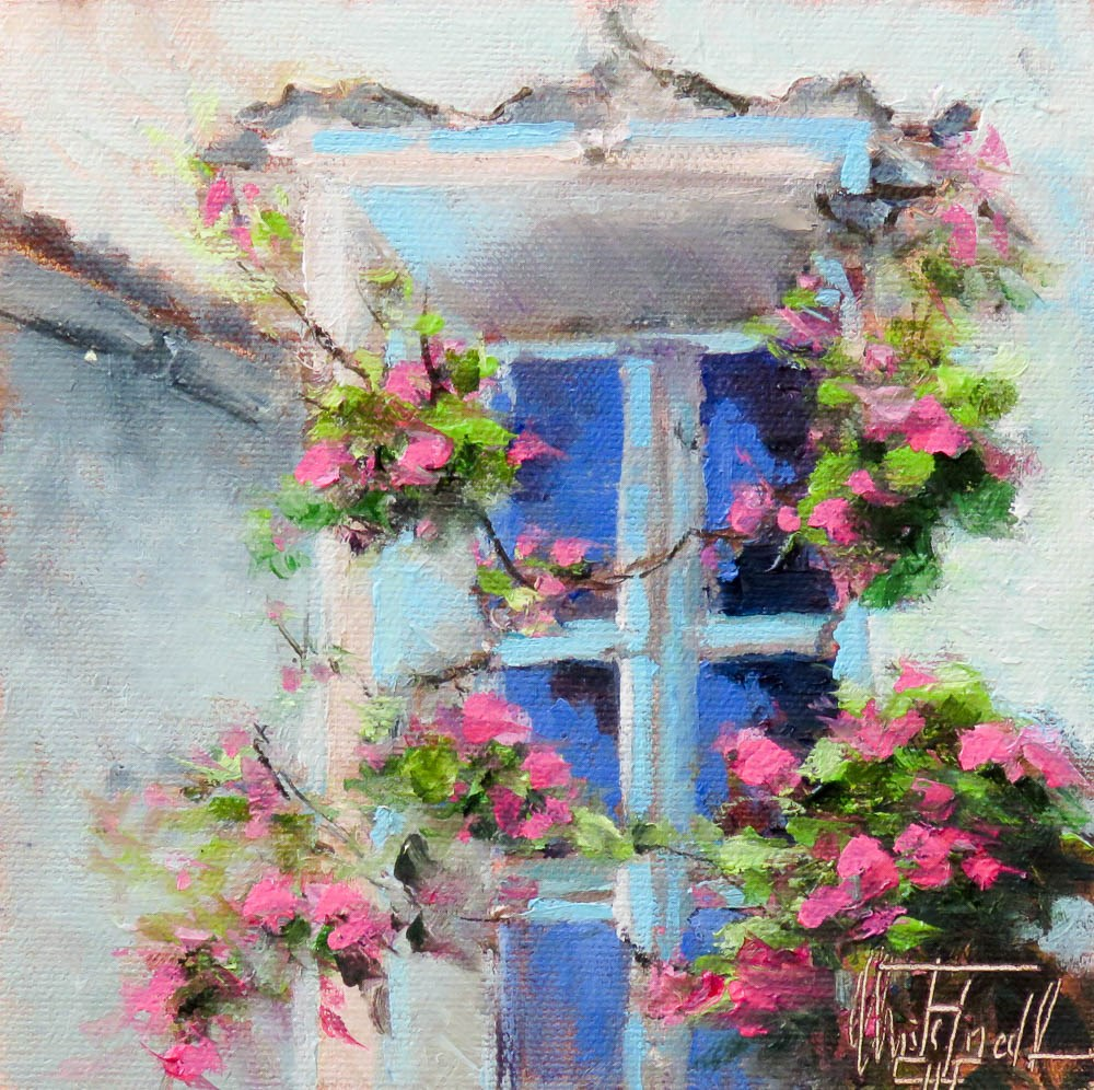 """""""The Turquoise Window"""" original fine art by Christa Friedl"""