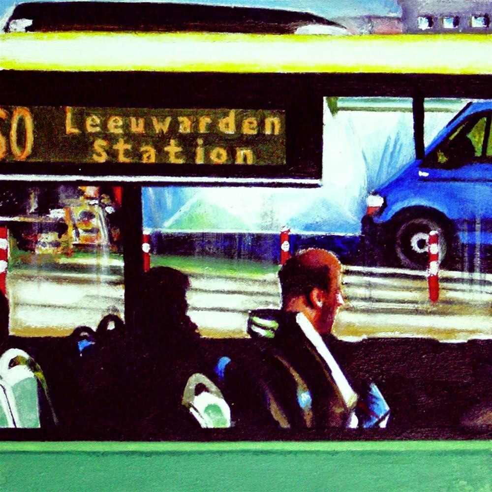 """Connexxion- Painting Of People On The Bus"" original fine art by Gerard Boersma"