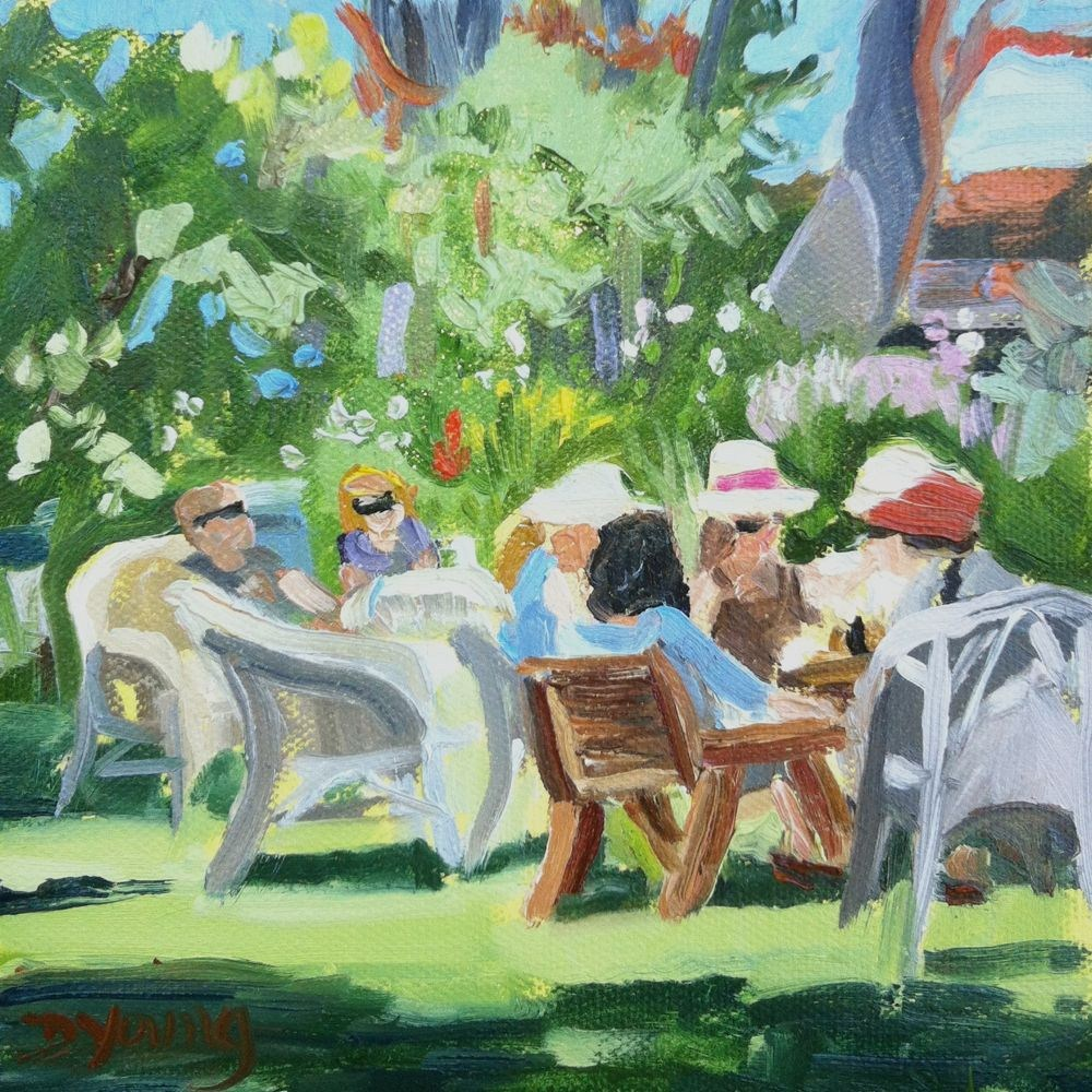 """""""Tea at Point Ellice House"""" original fine art by Darlene Young"""