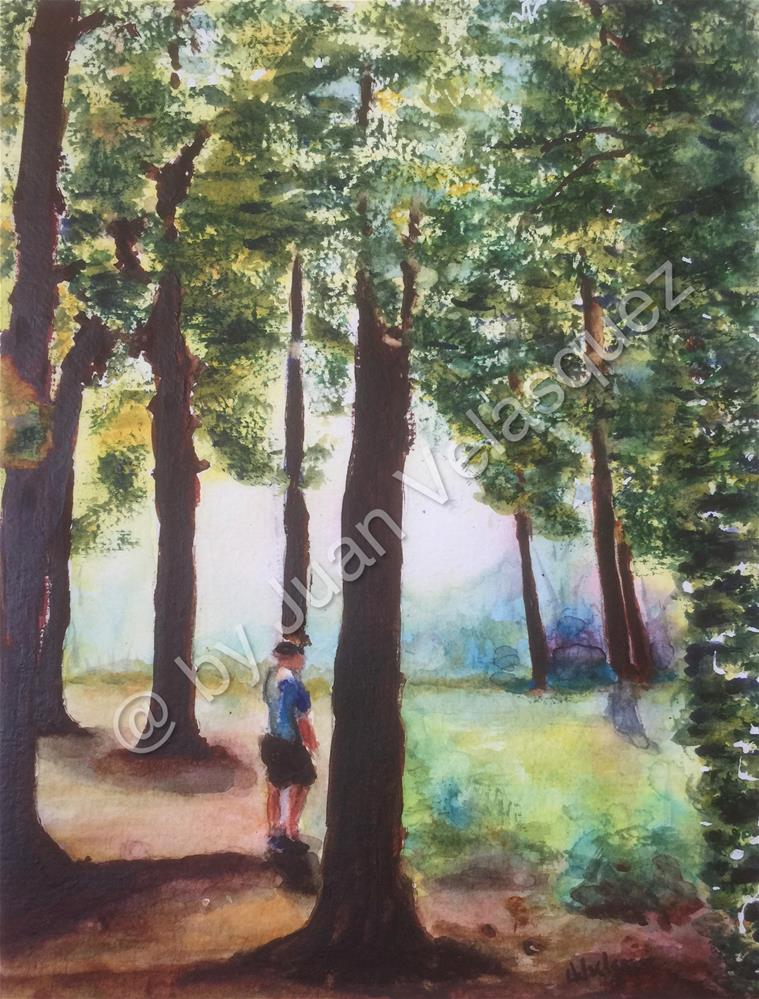 """Walk thru the woods"" original fine art by Juan Velasquez"