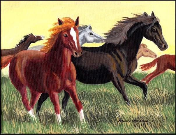 """""""Wild, Wild Horses"""" original fine art by Patricia Ann Rizzo"""