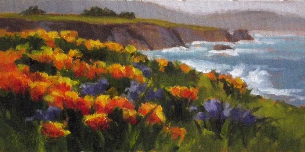 """Spring Surf and Blossoms"" original fine art by Erin Dertner"