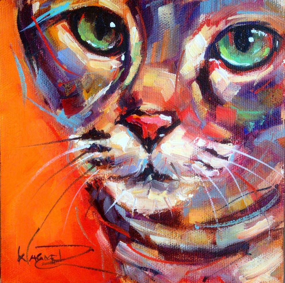 """""""CONTEMPORARY AND COLORFUL CAT OIL PAINTING by OLGA WAGNER"""" original fine art by Olga Wagner"""