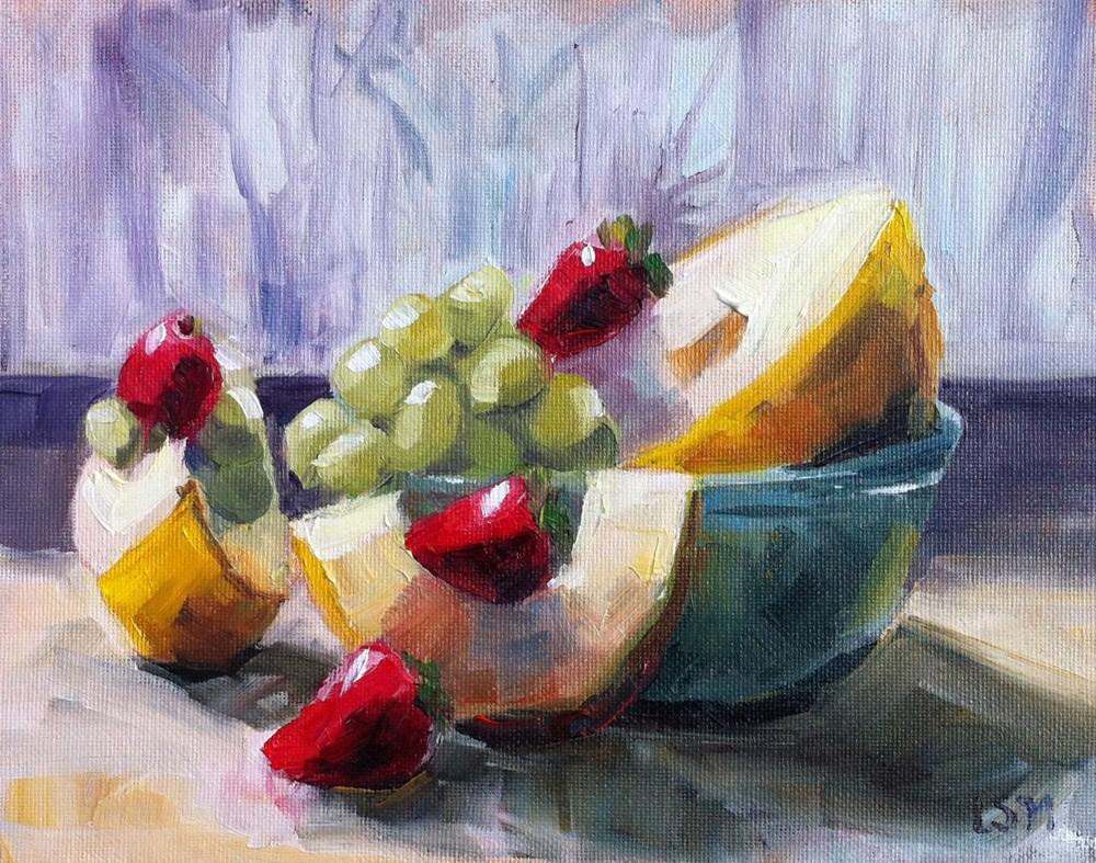 """Canary Melon, Strawberries and Grapes"" original fine art by Linda Marino"