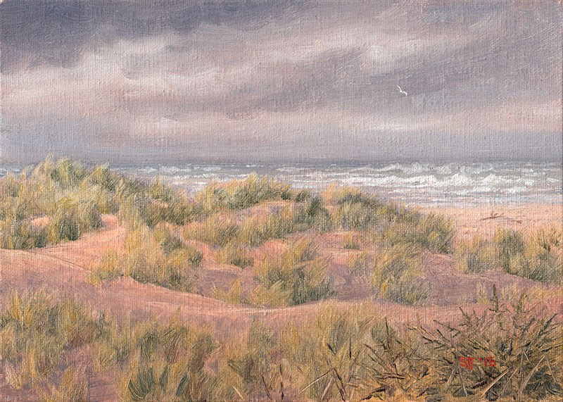 """C1605 Blown before the Storm (China Creek, Bandon, Oregon Coast)"" original fine art by Steven Thor Johanneson"