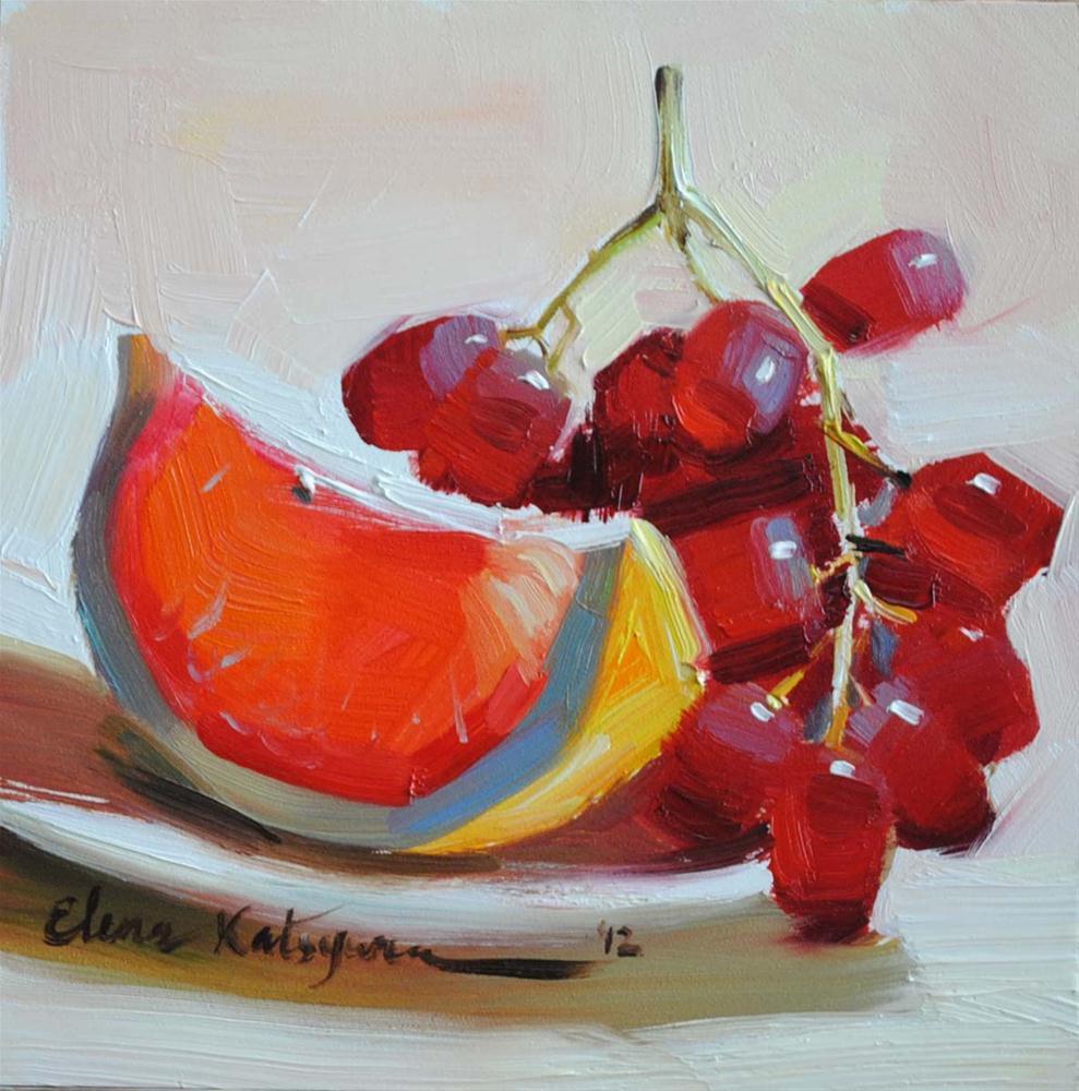 """""""Grapes and Grapefruit"""" original fine art by Elena Katsyura"""