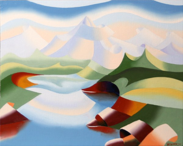 """""""Mark Webster - Abstract Geometric Mountain River Landscape Oil Painting"""" original fine art by Mark Webster"""