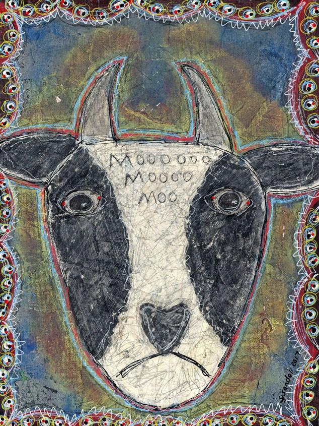 """""""Cow Head"""" original fine art by Sonja Sandell"""