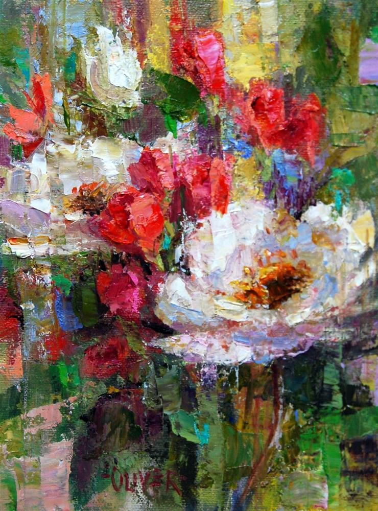 """White Roses"" original fine art by Julie Ford Oliver"
