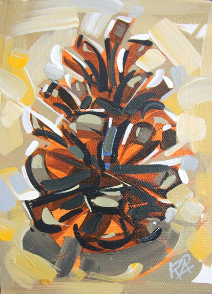 """Pine Cone Abstraction 9"" original fine art by Roger Akesson"