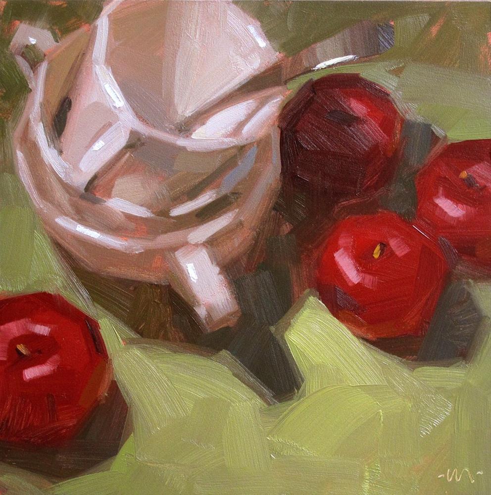 """Lording Over Plums"" original fine art by Carol Marine"