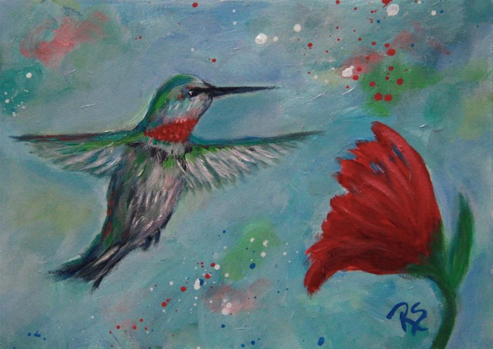 """The Garden and the Hummingbird"" original fine art by Roberta Schmidt"
