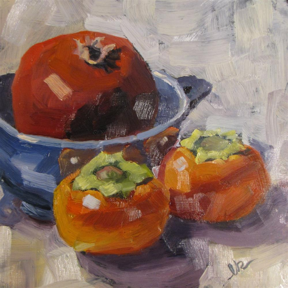 """""""Pomegranate and Persimmons"""" original fine art by Louise Kubista"""