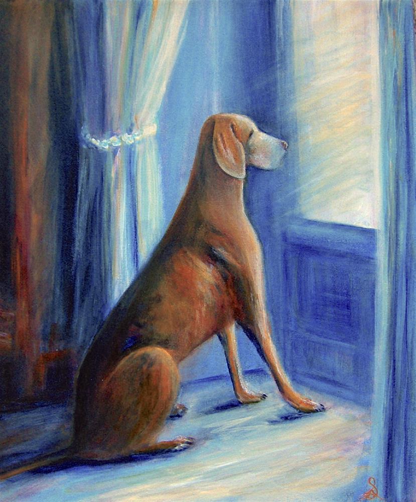 """3209 - The Old Hound - Pal Portrait"" original fine art by Sea Dean"