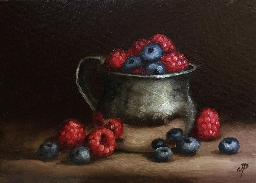 """Berries in silver"" original fine art by Jane Palmer"