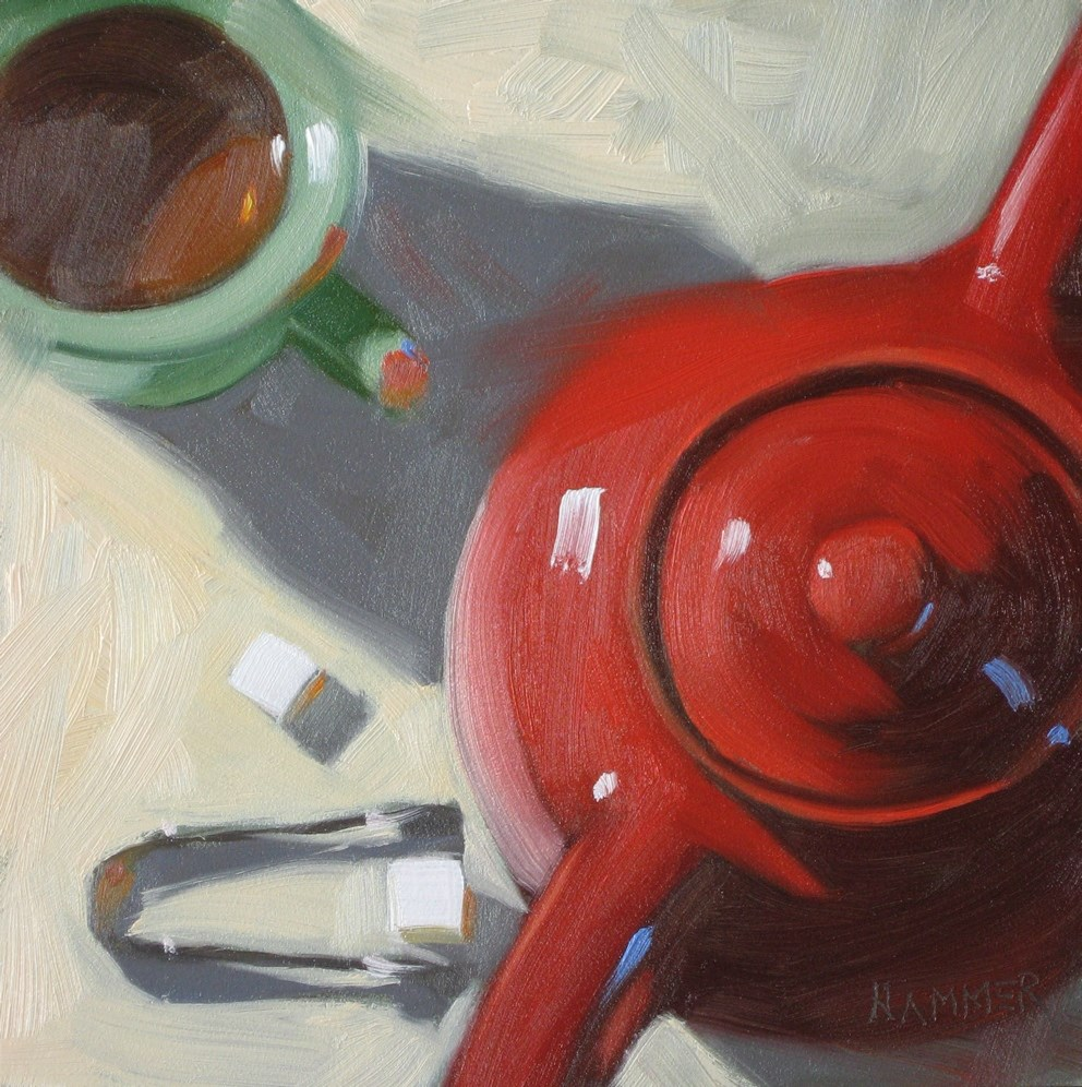 """""""Tea with two cubes 6x6 oil"""" original fine art by Claudia Hammer"""