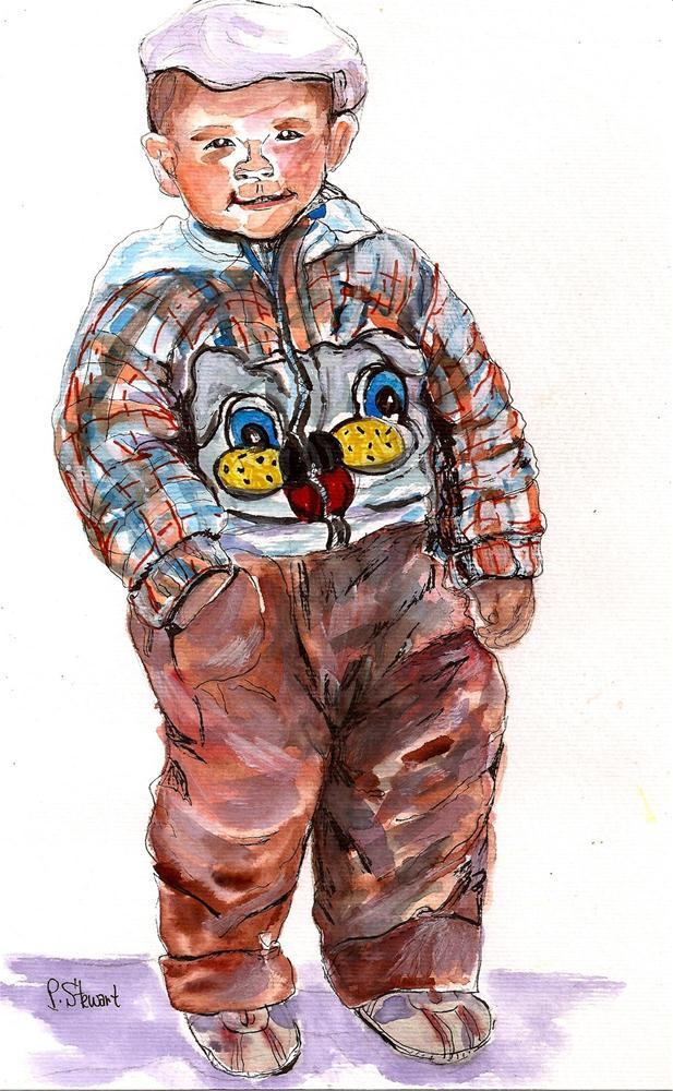 """11x7, Rumpled Boy with Hat, Watercolor"" original fine art by Penny Lee StewArt"