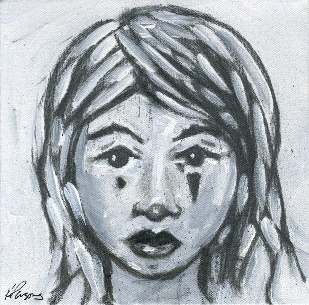 """Sad Clown"" original fine art by Kali Parsons"