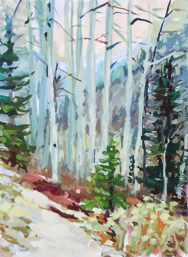 """First Snow,landscape,gouache on paper,7x5,price$50"" original fine art by Joy Olney"