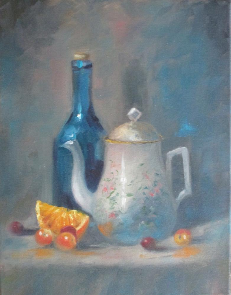 """Teapot and Oranges"" original fine art by Barbara Wagner"