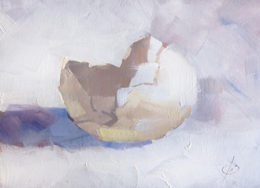 """""""CRADLED EGG"""" original fine art by Tom Brown"""