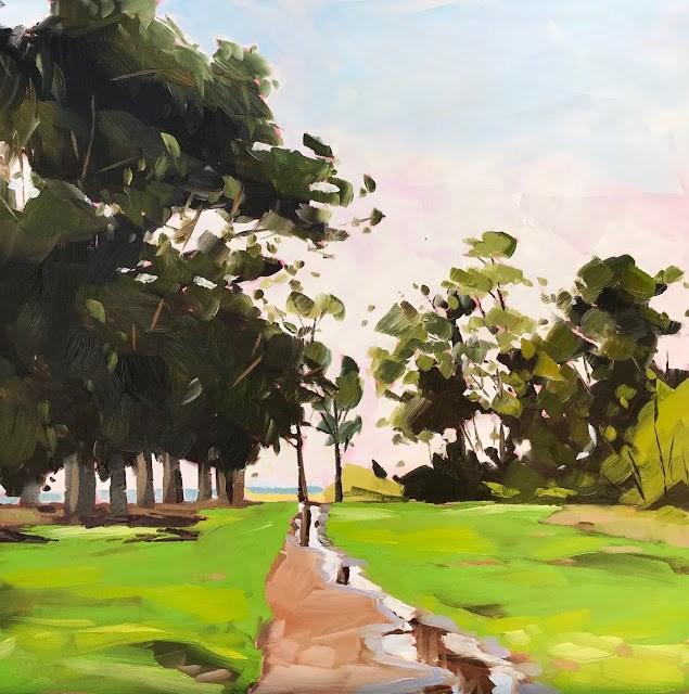 """""""Spring Greens, Carpinteria - 12x12"""" original fine art by Sharon Schock"""