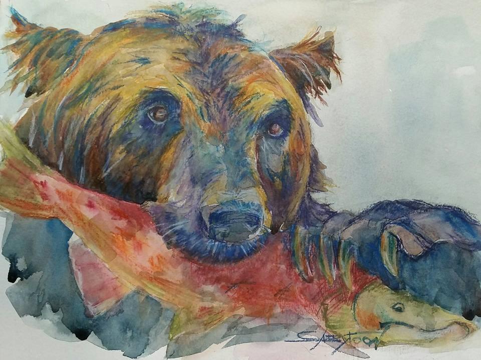 """Fishing"" original fine art by Gabriella DeLamater"