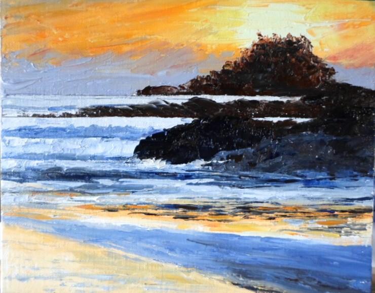"""""""8 x 10 inch Tofino sunset"""" original fine art by Linda Yurgensen"""