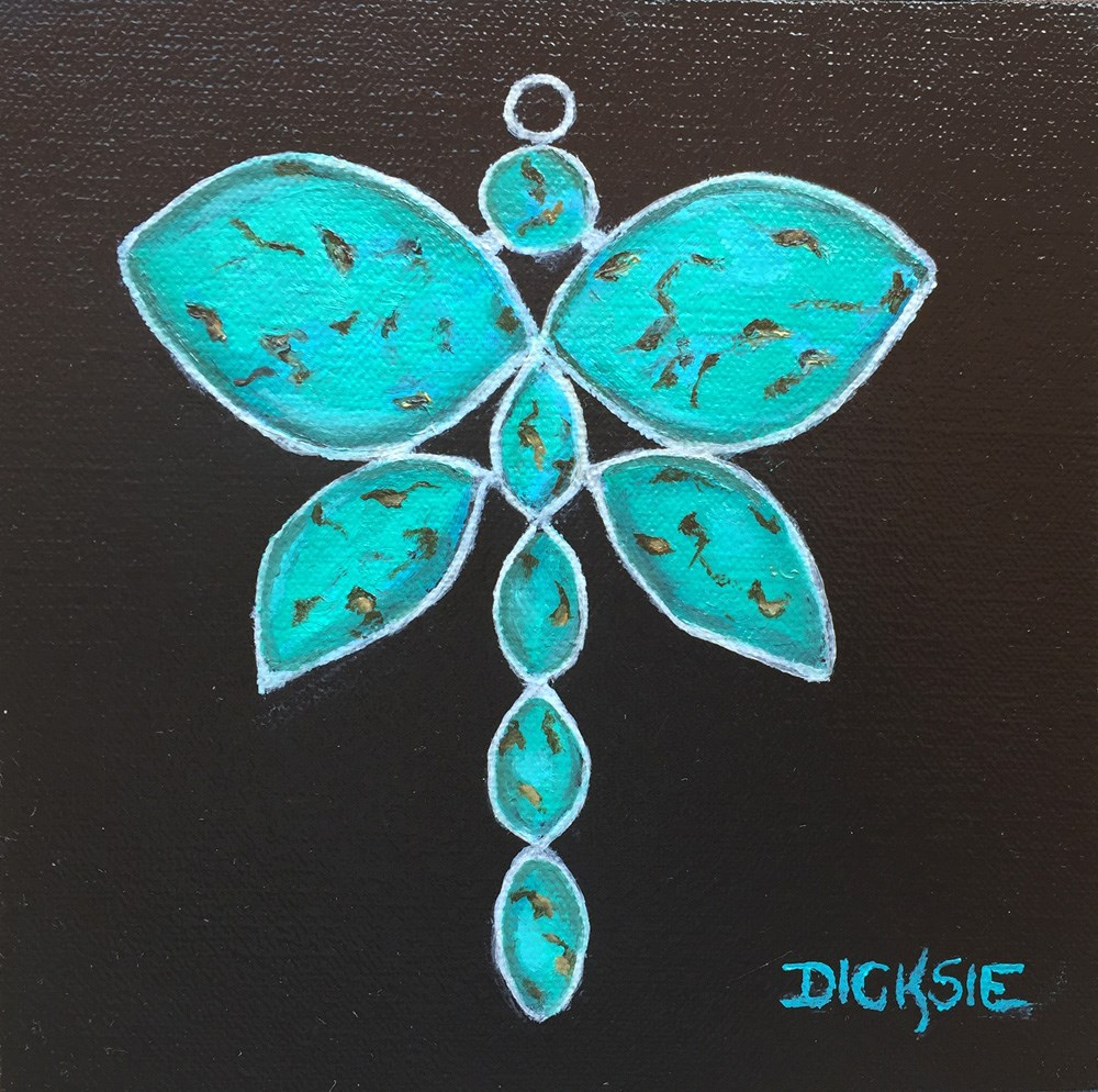 """Turquoise Dragonfly"" original fine art by Dicksie McDaniel"