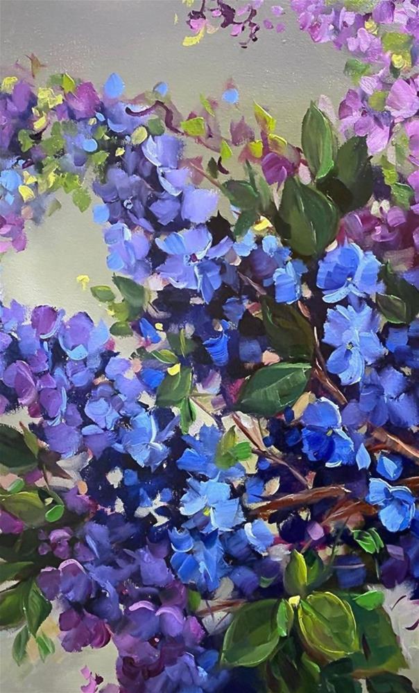 """Never Be Blue Delphiniums"" original fine art by Nancy Medina"