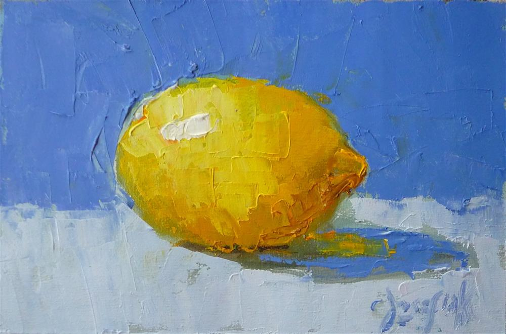 """Palette Knife lemon"" original fine art by Carol Josefiak"