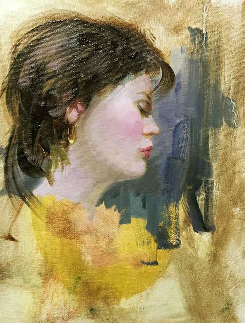"""Gold earring"" original fine art by Mostafa Keyhani"