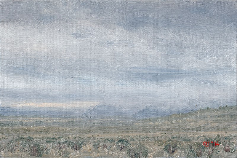 """C1590 Misty High Desert Showers (Warner Valley, Oregon High Desert)"" original fine art by Steven Thor Johanneson"