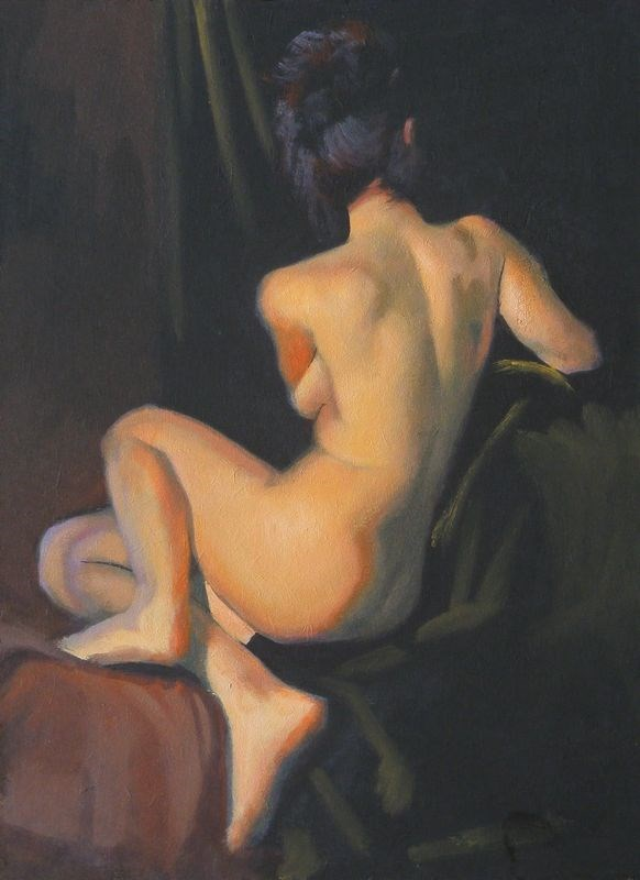"""Seated back"" original fine art by Peter Orrock"