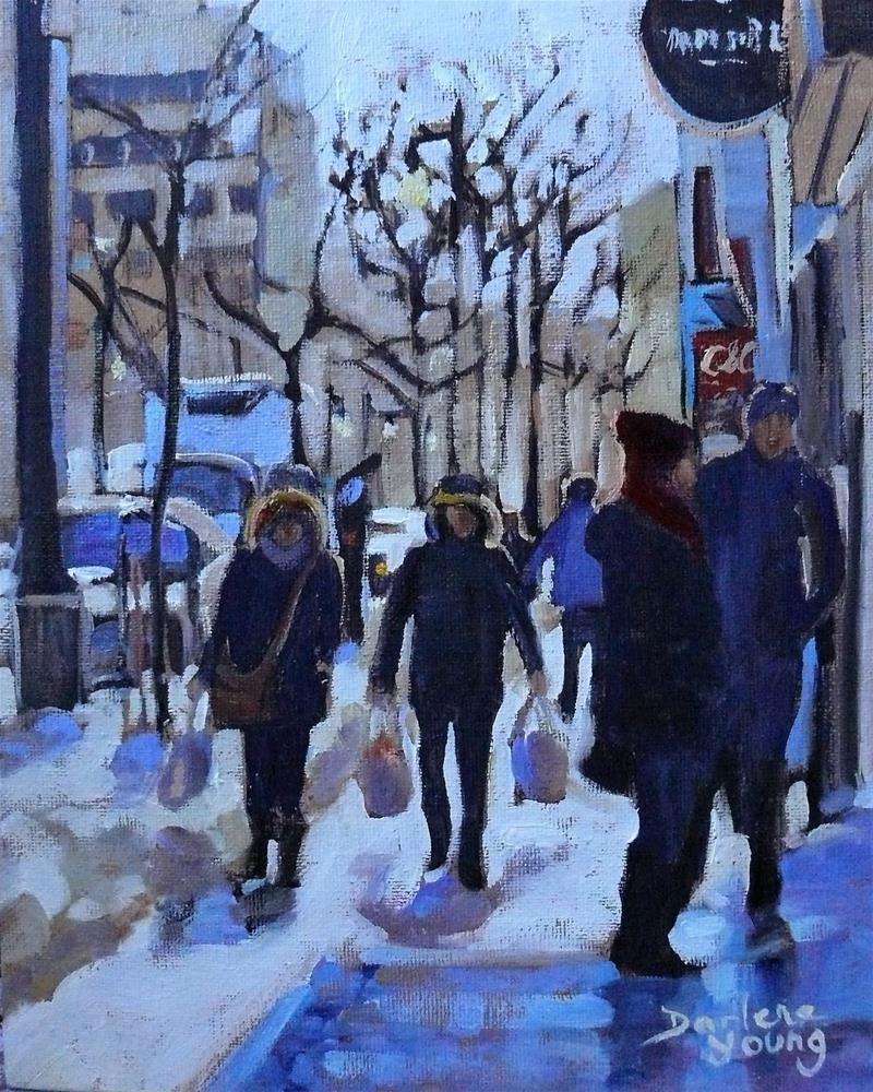 """988 Montreal Shopping Downtown Scene, 8x10, oil on board"" original fine art by Darlene Young"