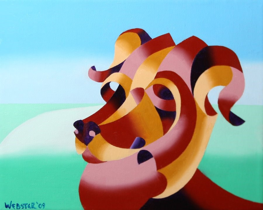 """""""Mark Webster - Abstract Geometric Dog Oil Painting"""" original fine art by Mark Webster"""