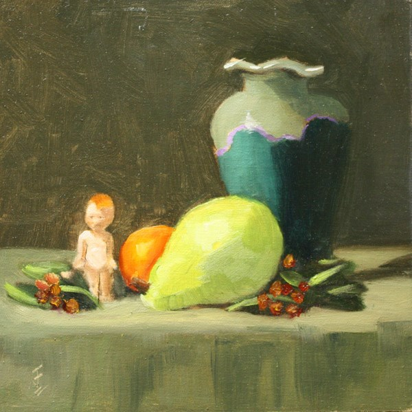 """Still Life with Kewpie"" original fine art by Jane Frederick"