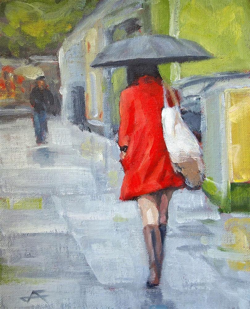"""""""Rain Walk II"""" original fine art by J. Farnsworth"""