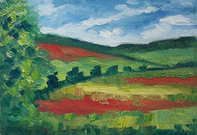 """Poppy Fields From The Train"" original fine art by J M Needham"