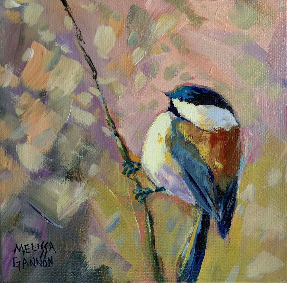 """Chickadee Impressions"" original fine art by Melissa Gannon"