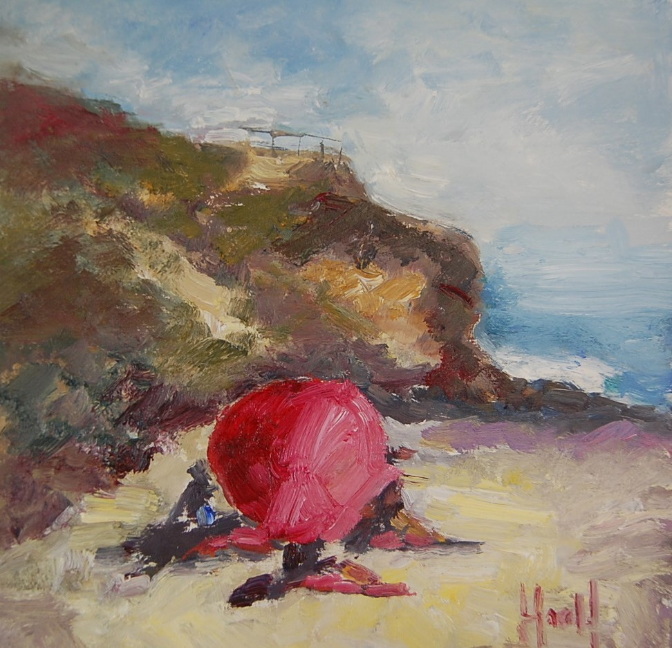 """Red Umbrella at Corona Del Mar"" original fine art by Deborah Harold"